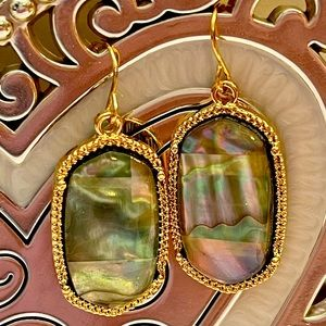 New Gold Tone Abalone Shell Dangle Earrings